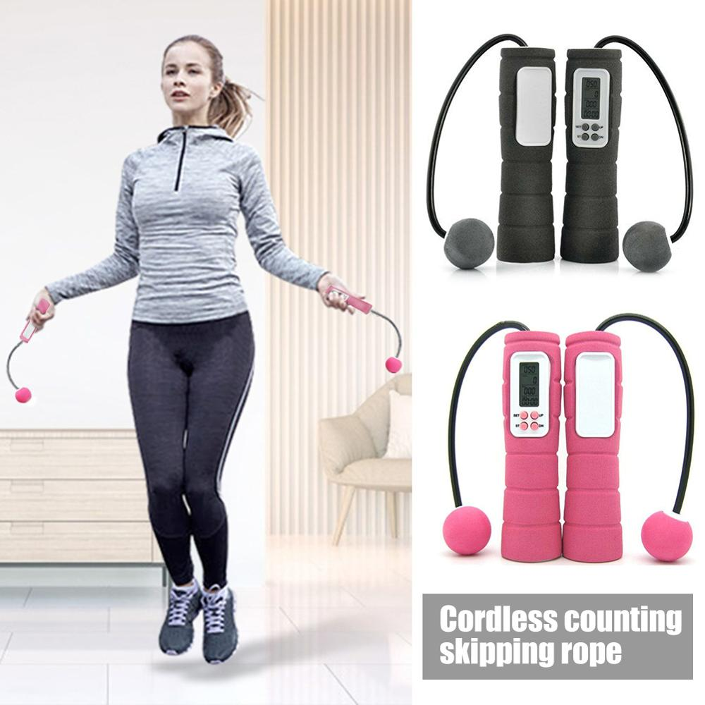 Calorie <font><b>skipping</b></font> <font><b>rope</b></font> ultra-lightweight Electronic counting <font><b>skipping</b></font> LCD display soft sponge <font><b>handle</b></font> Gym home Fitness Equipment image