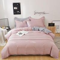 Roze Plaid 100% Puur Katoen Trooster Beddengoed Sets 60S Eenvoudige Stijl Huishoudtextiel Beddengoed Dubbel Bed Cover Set Voor volwassen Kid