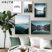 Nature Landscape Poster Nordic Style Mountain Love Quotes Print Wall Art Picture Canvas Painting Scandinavian Home Decoration