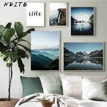 Doğa manzara Poster Nordic stil dağ aşk tırnaklar baskı duvar sanatı resim tuvali boyama İskandinav ev dekorasyon