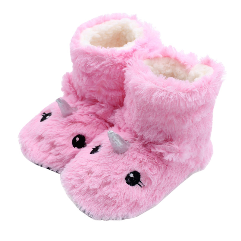 Girls Ankle Boots Anime Crtoon Funny Unicorn Children Warm Indoor Home Cotton Shoes Spring Winter Household Plush Floor Shoes image