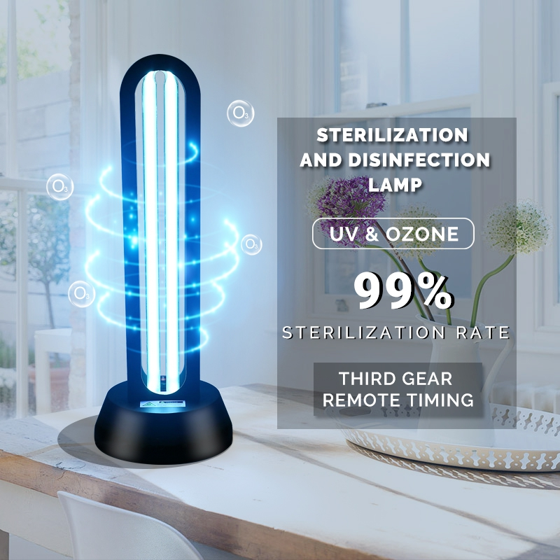 SCON 220V Remote Control Quartz Ultraviolet Sterilizing Lamp 38w Portable UVC Disinfection Ozone Tube Bulb Germicidal UV Light
