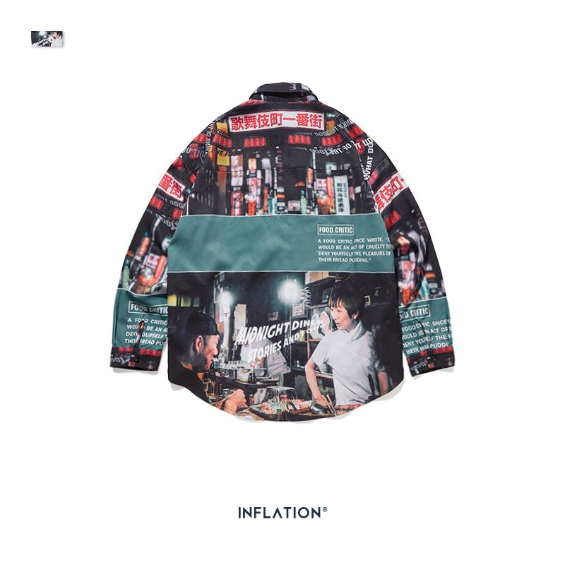 Image 5 - INFLATION Loose Fit Men Shirt 2019 FW Harajuku Digital Printing  Men Shirts Long Sleeve Hip Hop Oversized Men Tops Shirt  92156WCasual  Shirts