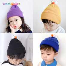 SLKMSWMDJ Children Spring and Autumn New big Eyes Wool Hat Boys Girls Baby Candy color Elastic Knit Cap for 2-5 Years Old