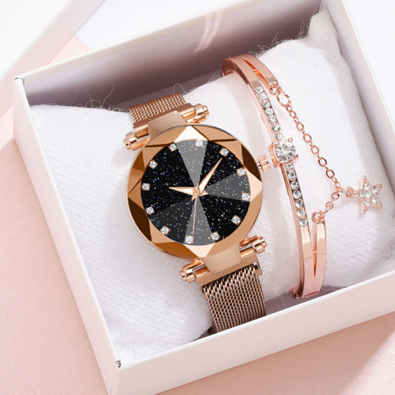 Luxury Women Wristwatches Fashion Ladies Watch Rose Gold Starry Sky Wrist Watch Magnet Buckle Gift Clock Relogio Zegarek Damski