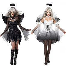 DM COS Halloween Witch Costume Angel Cosplay Devil Wing Goddess Dress Set Nightclub Party