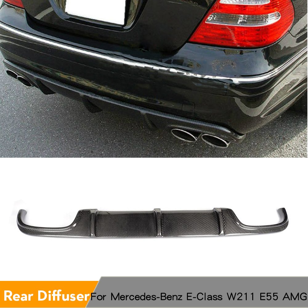 Carbon Fiber Rear Diffuser Bumper Lip for Mercedes-Benz E-Class <font><b>W211</b></font> <font><b>E55</b></font> <font><b>AMG</b></font> Sedan 4-Door 2002 - 2006 image