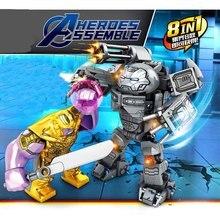 8pcs Avengers 4 Marvel Thanos VS Robot Iron Man Captain America Building Blocks Bricks Children Toys B666