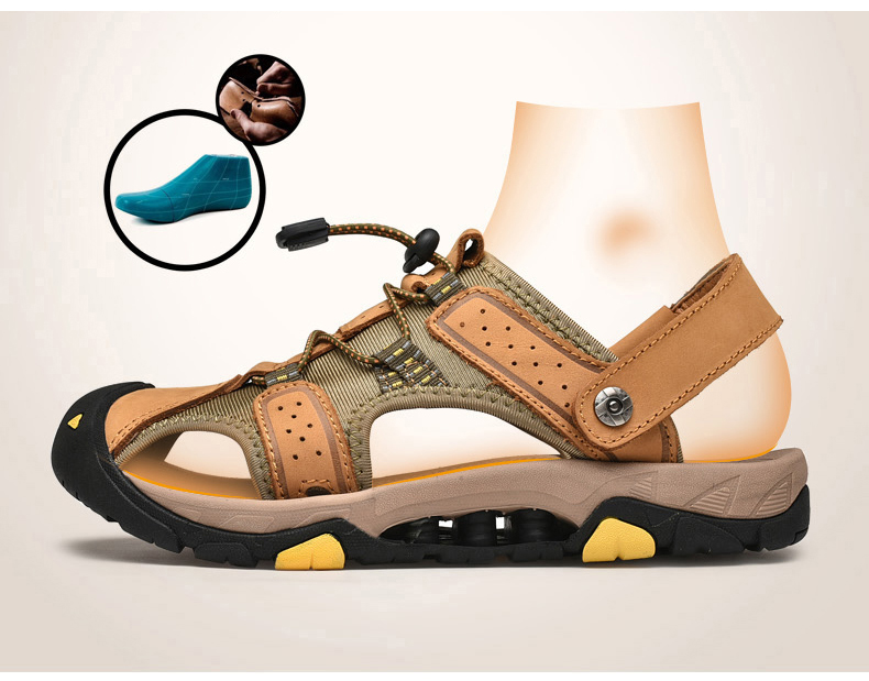 Summer men's sandals casual genuine leather shoes male breathable flats beach sandal man platform sandals for men big size 38-47