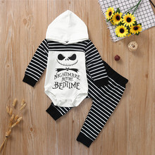 2019 Fashion Halloween Newborn Baby Boy Girl Nightmare Stripe Hooded Romper Pants Outfits Set