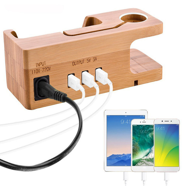 Besegad Bamboo Charging Charger Dock Mount Holder Station for Apple Watch iWatch Series 4 3 2 1 38/42mm iPhone 10 X 8 7 6s Plus