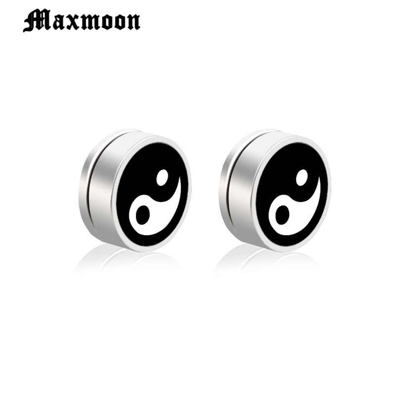Maxmoon 1 пара магнитный круглый гвоздики мужские серьги мальчик 316l Нержавеющая