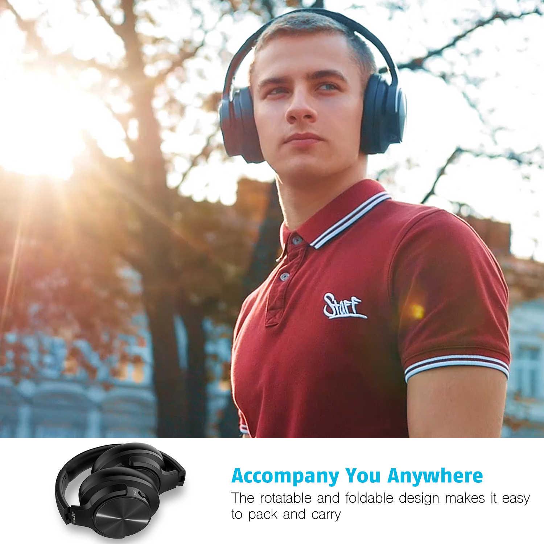 Mixcder E9 نشط إلغاء الضوضاء سماعات لاسلكية الإفراط في الأذن سماعة رأس بخاصية البلوتوث مع HiFi عميق باس 3d-ستيريو الصوت جاك