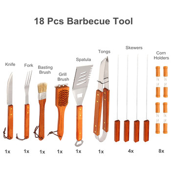 New 18Pcs/Set Camping Picnic BBQ Tool Kit Stainless Steel BBQ Grill Fork Set Barbecue Gadgets Supplies Outdoor Kitchen Accessori