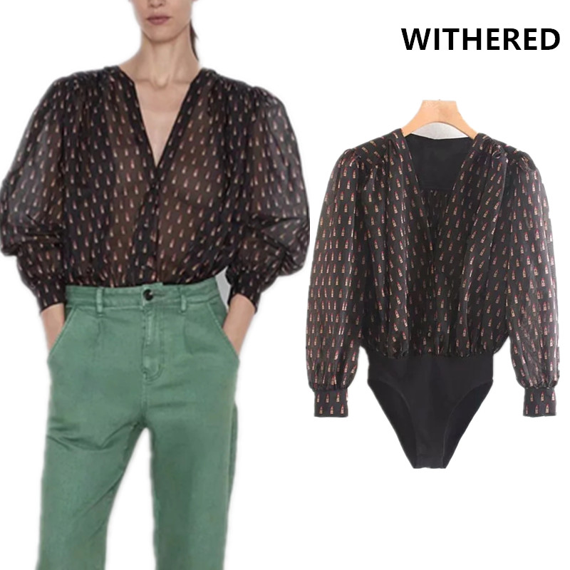 Withered autumn england urban style Lipstick printing kimono bodysuits women puff sleeve v-neck budysuits women tops plus size
