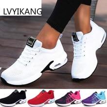 Moda feminina leve tênis tênis de corrida ao ar livre sapatos esportivos respirável malha conforto tênis corrida almofada ar rendas acima