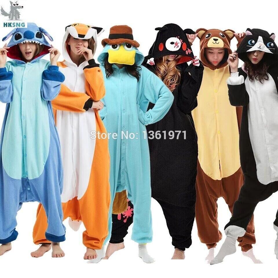2019# HOT Happy Cat Unisex Adult Kigurumi Cosplay Animal Pajama Sleepwear
