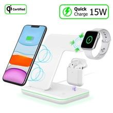 Bezprzewodowa stacja dokująca ładowarki Qi 15W szybkie ładowanie dla Iphone 11 Pro Max XR X Airpods Pro 2 Apple Watch 5 4 3 2 ładowanie dokowania
