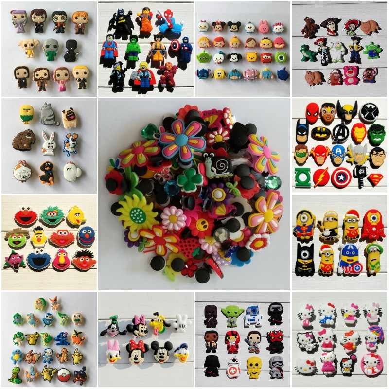 10pcs/lot Avengers Sesame Street Star Wars Mickey PVC Shoe Charms Buckle Fit Bands Bracelets Croc JIBZ Shoes Ormaments Xmas Gift