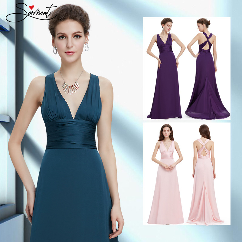OLLYMURS New Elegant Woman Evening Gown New Sexy V-neck Strap Evening Dress Suitable For Formal Parties