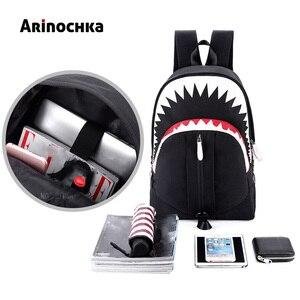 Image 5 - Большой рот Акула светящийся школьный рюкзак для подростков мальчиков мужчин USB зарядка дорожные сумки стильные школьные сумки для студентов Mochila