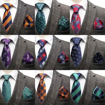 HOT 7.5cm Men Silk Neck Tie Striped plaid Paisley Necktie Handkerchief Set Mens Classic Party Wedding Pocket Square Sets