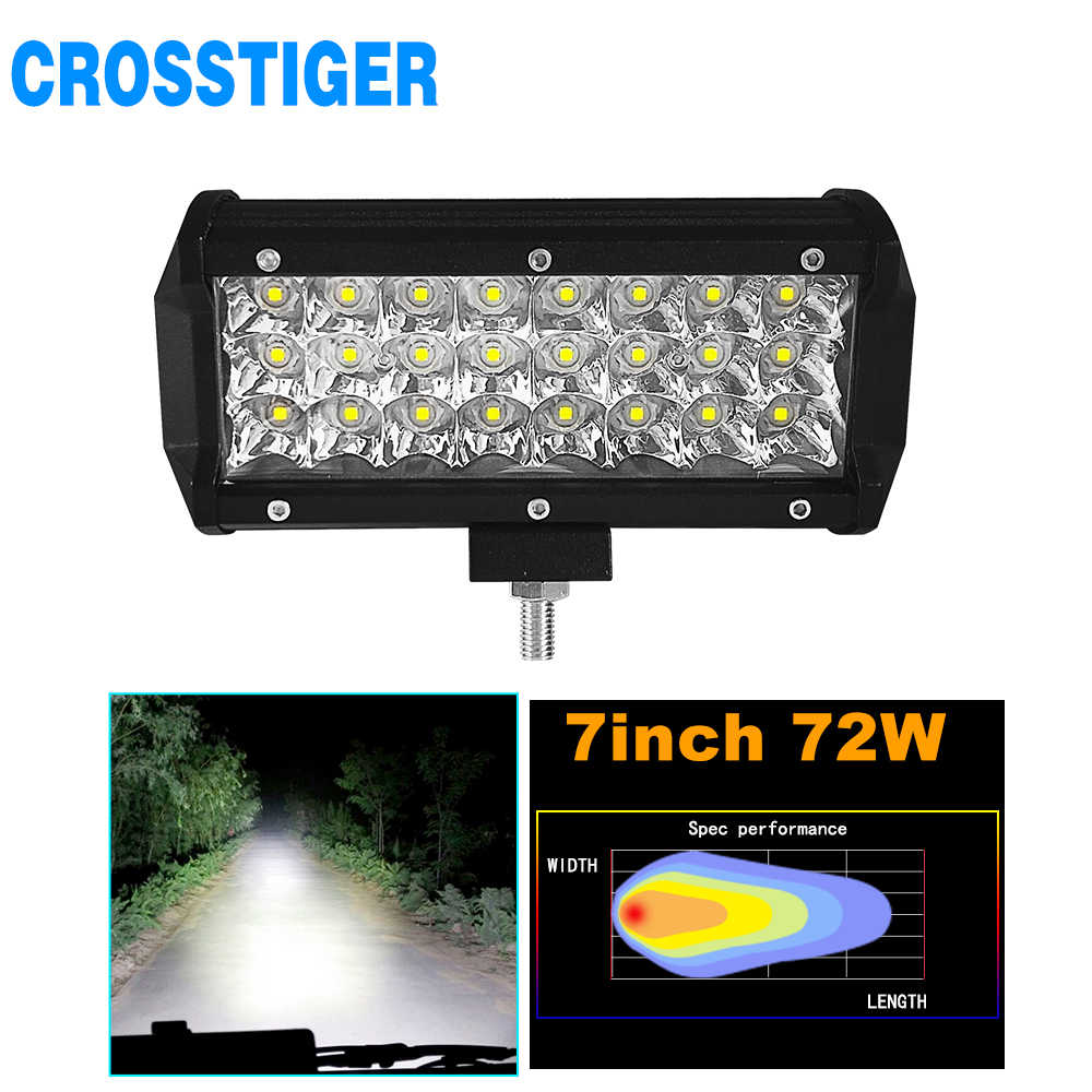 24 LED Light Beads Super Bright Running Lamp 7 Inch 72W Combo Led Light Bar Car OffRoad 4x4 Spot 12/24V 4WD Barra LEDS Headlight