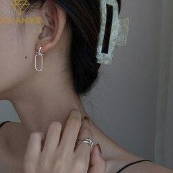 XIYANIKE 925 Sterling Silver Korean Simple Geometric Semicircle Oval Hollow Line Earrings Fashion Handmade Couple Gift Women