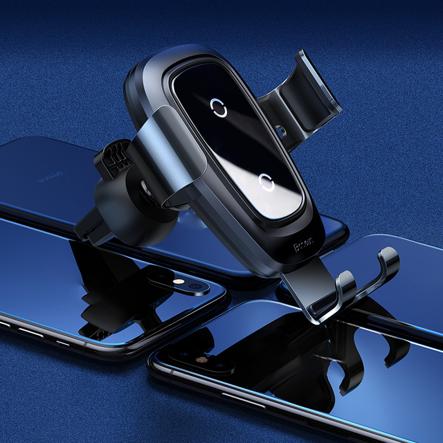 Baseus car phone holder 10w qi wireless charger for iPhone X Samsung S10 S9 S8 phone holder car phone power charger in air vent 2
