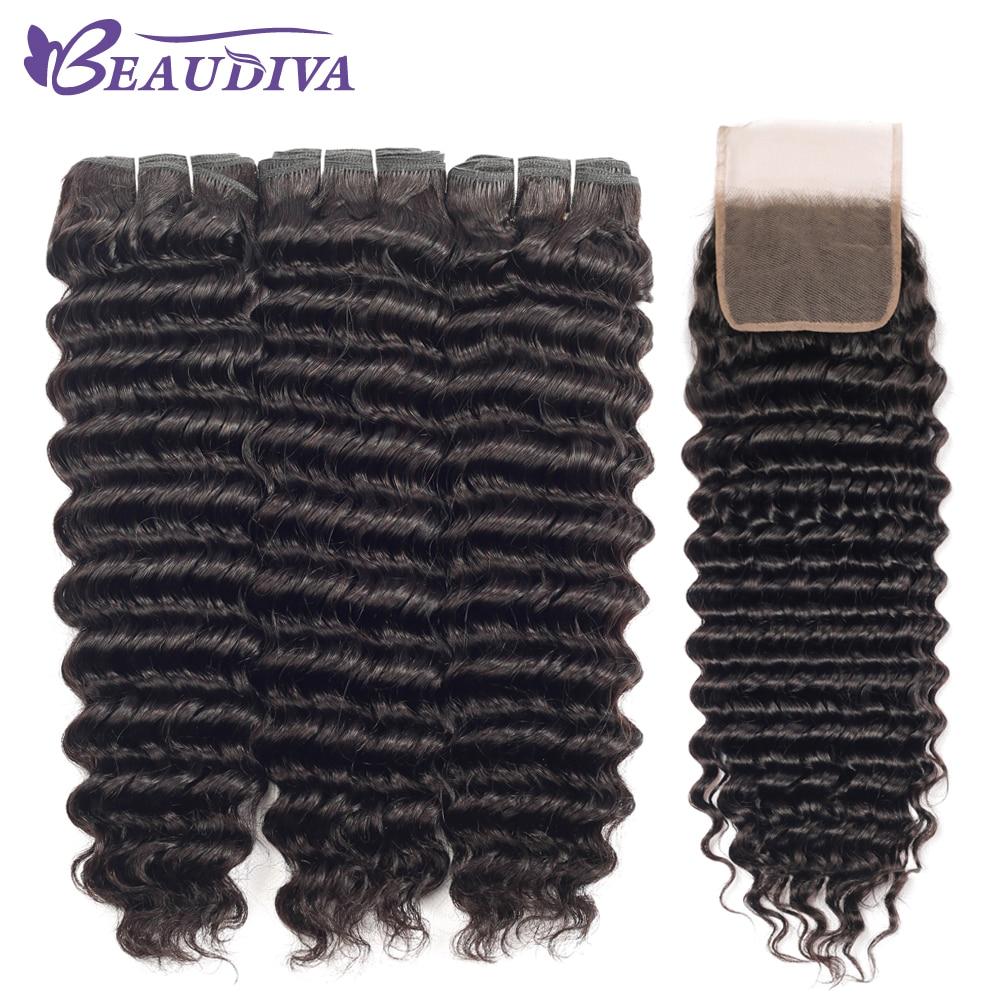 Deep Wave Bundles With Closure Hair Bundles With Closure Brazilian Hair Weave Bundles Human Hair Bundles With Closure Remy Hair