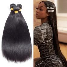 Impressão real 10 30 30 Polegada pacote de cabelo humano em linha reta osso 1/3/4 pacotes ofertas trama dupla extensões tecer cabelo brasileiro