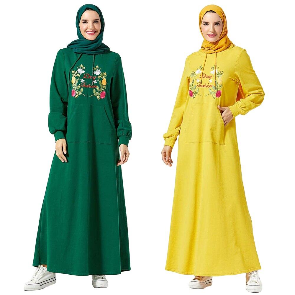 Embroidery Abaya Women Muslim Hooded Long Dress Islamic Sport Kaftan Arab Jilbab Casual Long Sleeve Pockets Autumn Robe Fashion