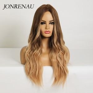 Image 2 - Jonrenauロング合成天然ウェーブブラウンゴールデンブロンドオンブル毛かつら日常着白人/黒女性