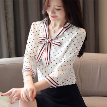 Korean Chiffon Women Blouse Shirt Women Polka Dot Blouse Shirts Blusas Femininas Elegante Woman Bow Blouses Tops Plus Size XXL