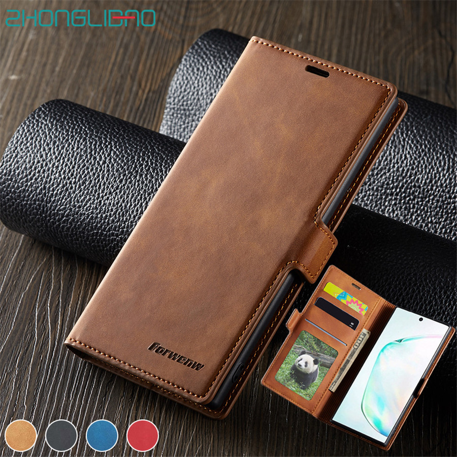 For Galaxy Note 10 Plus <font><b>Wallet</b></font> <font><b>Stand</b></font> <font><b>Case</b></font> <font><b>Leather</b></font> <font><b>Flip</b></font> Cover for <font><b>Samsung</b></font> Galaxy Note10 + Note10plus S10 S9 S8 A50 A70 A40 A30 image
