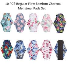 [Simfamily] 10Pcs Bamboe Houtskool Maandverband Regelmatige Flow Pads Herbruikbare Gezondheid Higiene Feminina Menstruele Doek Pads