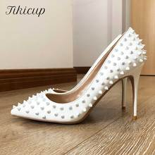 Tikicup White Full Spikes Women Sexy Pointed Toe Stilettos High Heels Ladies Chic Pumps Slip On Party Shoes Plus Size 34-45