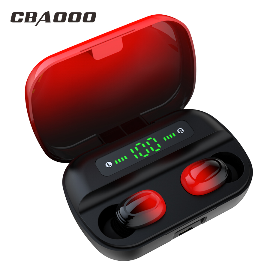 CBAOOO TWS Bluetooth Earphone V5.0 Wireless Earbuds Waterproof 8D Stereo Headphon Touch Control Power Display Headset For Xiaomi