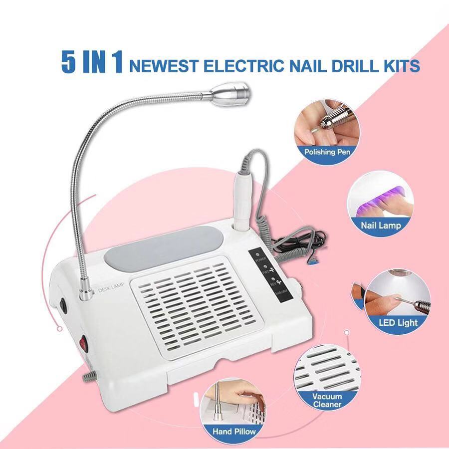 5 IN 1 Newest 96W UV LED Nail Lamp Dryer Vacuum Cleaner Manicure Machine Nail Drill Dust Collector Strong Power Nail Art Tools