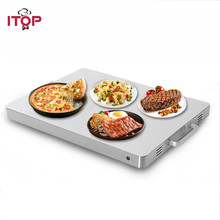 ITOP Food Heating Board Warming Tray Electric 400W Stainless Steel  Buffet Food Warm Machine Silver 80 Celsius 220-240V dz 2 warming lamp 2 head lamp hotel buffet professional heating machine