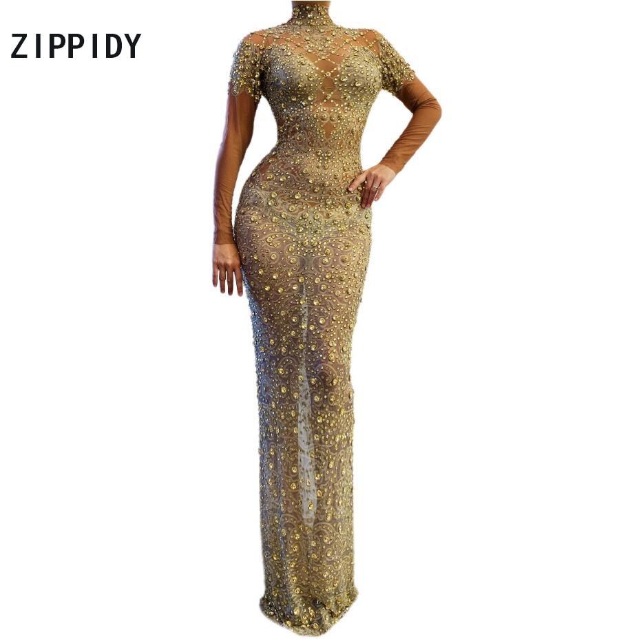 Gold Sparkly Rhinestones Mesh Long Dress Birthday Celebrate Dress Wear Prom Dance Female Singer Transparent Dresses
