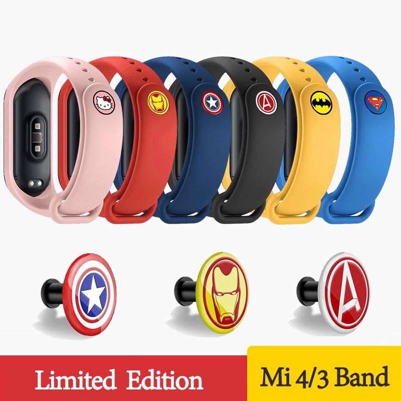 Metal Buckle Bracelet For Xiaomi Mi Band 3 4 Sport Strap Watch Silicone Cartoon Wrist Strap For Mi Band 3 4  Miband 4 3 Strap