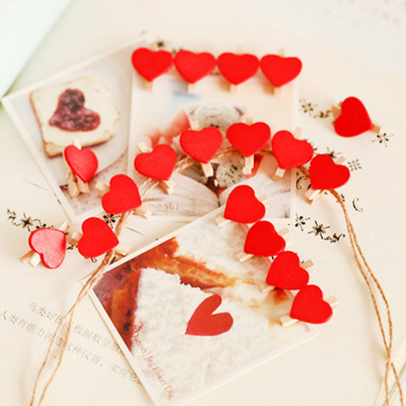 10 Pcs/lot Mini Love Hearts Wooden Paper Clips For Decoration Photo Peg Pin Clothespin Craft Postcard Clips School Supplies