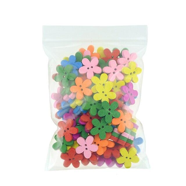 100Pcs/Set 2-Hole Mix Color Plum Flower Shape Wooden Buttons For Sewing Scrapbooking Craft Technological Garment Accessories