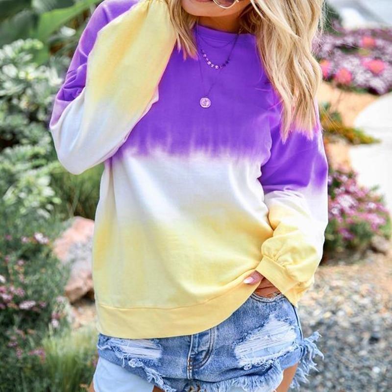 Женские толстовки, женские разноцветные толстовки с длинным рукавом, радужные градиентные Осенние Теплые мягкие толстовки, женская