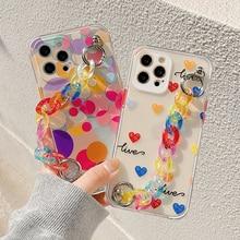 Colorful Art Graffiti Geometric Wristband Phone Case for iPhone 11 12 Mini Pro Max XS Max X XR 7 8 Plus Cute Chain Soft tpu Case