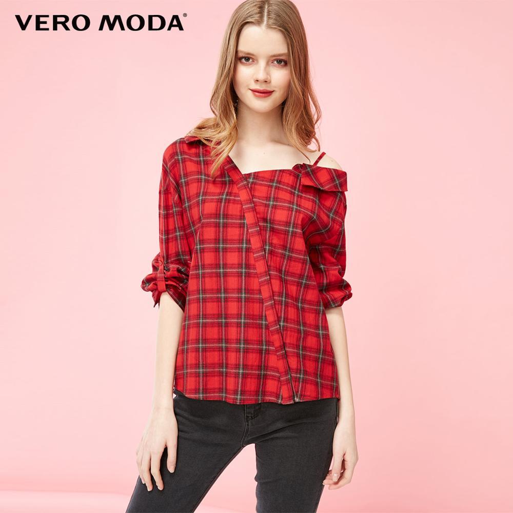 Vero Moda Women's 100% Cotton Asymmetrical Single Strap Plaid Shirt   319231582