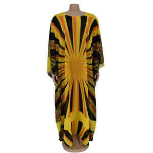 Image 2 - Voan Màu Vàng Châu Phi Váy Đầm Cho Nữ Châu Phi Quần Áo Hồi Giáo Dài Đầm Chất Lượng Cao Chiều Dài Thời Trang Châu Phi Đầm Cho Nữ