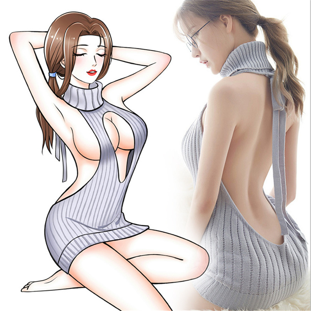 Summer New Turtleneck Sleeveless Long Virgin Killer Sweater Japanese Knitted Sexy Backless Women Open Bra Sweaters And Pullovers