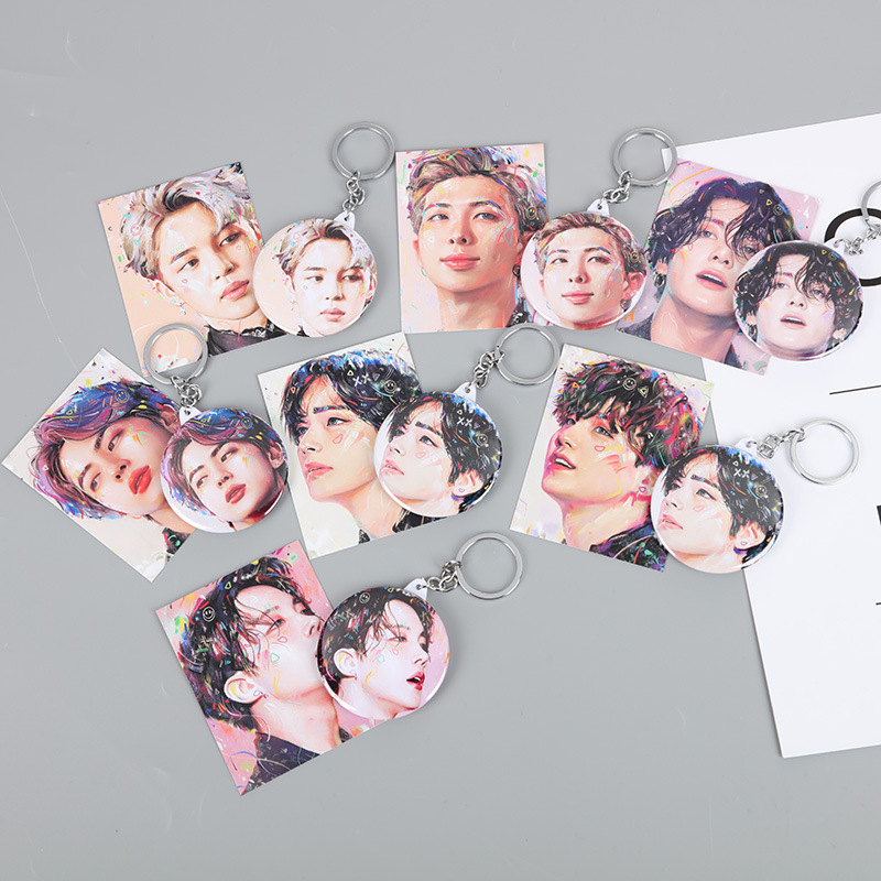 7pcs/lot Kpop JUNG KOOK JIMIN SUGA V JHOPE RM JIN Map Of The Soul 7 Acrylic Keyring Keychain Make-up Mirror Pendant Toy Gift